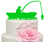 Fisherman in Boat Retirement Cake Acrylic Topper